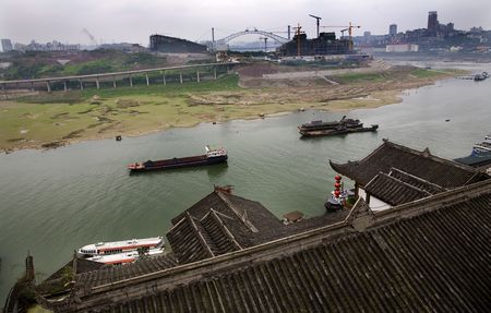 reviewer: River Boats Jialing River, Chongqing, Sichuan, China from Hongya Old Chinese Buildings  Resubmit--In response to comments from reviewer have further processed image to reduce noise, sharpen focus and adjust lighting.