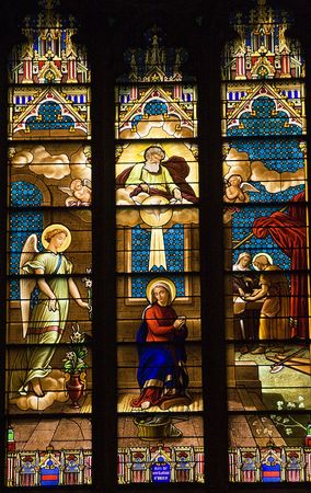 Annunciation Mary Archangel Gabriel Stained Glass Saint Patrick's Cathedral New York City Old Stained Glass Window Completed in the 1800s.