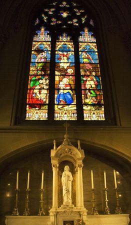 jesus mary joseph: Christ Shrine Jesus Mary Joseph Manger Brith Stained Glass Christ Statue Saint Patricks Cathedral New York