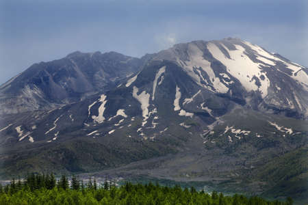 Close Up Mount Saint Helens Volcano National Park Washington Green Trees in Foreground