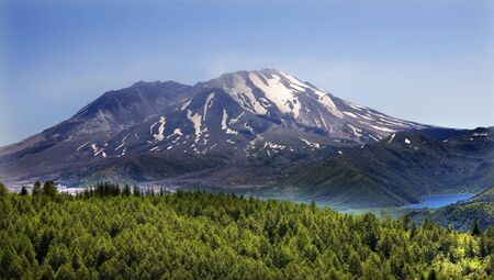cascade: Forest Blue Lake Snowy Mount Saint Helens Volcano National Park Washington