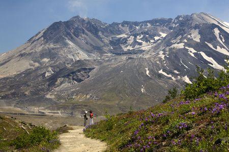 Hiking Mount Saint Helens Volcano National Park Washington Looking at Caldera with lava cap Stock Photo - 3522418