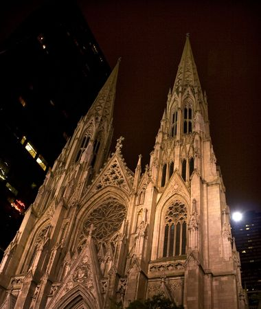Saint Patrick's Cathedral at Night New York City  Built in the 1800s this is the largest Catholic Cathedral in the United States.