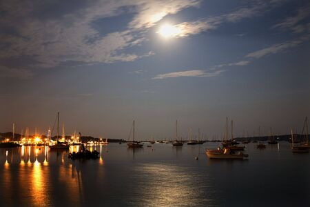 Padnaram Harbor Buzzards Bay Dartmouth Massachusetts Boats, Piers, Lights, Moon and Reflections photo
