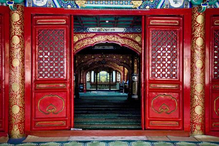 Interior Cow Street Niu Jie Mosque Beijing China  For the Hui Minority  Famous Moslem Mosque   photo