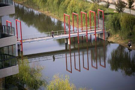 釣りと赤い橋川 Weilaiyu 上海郊外中国再送信--レビュー担当者からコメントへの応答でさらなるノイズ低減し、フォーカスをシャープにするイメージ