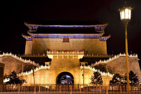 Zhengyang Gate with Streetlight Tiananmen Square Beijing, China Night Shot  Resubmit--In response to comments from review have further processed image to reduce noise, sharpen focus and adjust lighting. photo