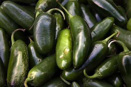 Spicy Green Jalapeno Chile Peppers Habanera Capsicum Annum Stock Photo