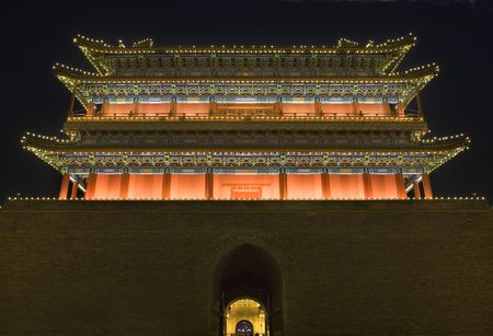 people's cultural palace:  Qianmen Gate Zhengyang Men Looking at Arrow Tower Tiananmen Square Beijing, China Night Shot Stock Photo