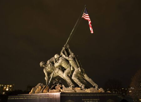 The Marine Corps War Memorial Shows the Raising of the Flag at Iwo Jima in World War II  Washington DC  Statue finished in 1954
