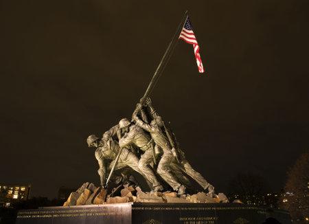 world war ii: The Marine Corps War Memorial Shows the Raising of the Flag at Iwo Jima in World War II  Washington DC  Statue finished in 1954   Editorial
