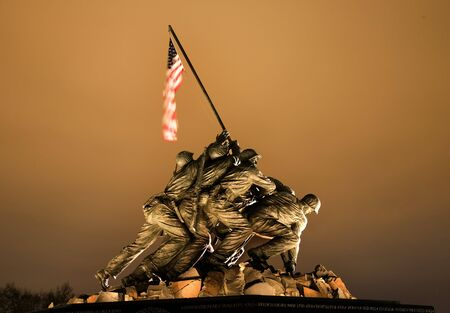 The Marine Corps War Memorial Shows the Raising of the Flag at Iwo Jima in World War II  Washington DC  Based on picture by Joe Rosenthal.  Statue finished in 1954