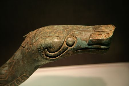 Tall Three Thousand Year Old Bronze Snake Statue Sanxingdui Three Star Mound Museum Guanghan Chengdu Sichuan China The statues have been carbon dated to the 11th-12th Century BCE  No intellectual property rights on three thousand year old artifacts.  photo