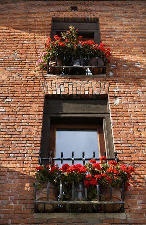 赤いゼラニウム赤レンガ建物 Windows レブンワース ワシントン、2008 年 10 月 10 日  校閲者からのコメントに応えて - 再送信はさらにノイズを低減しシ