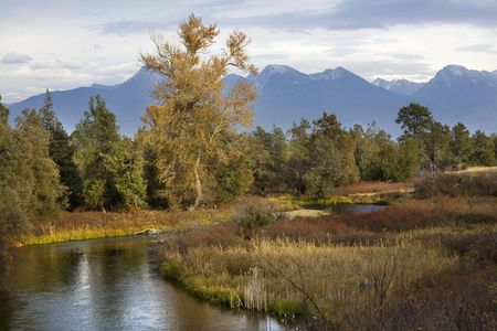 River Snow Mountains Fall Colors National Bison Range Charlo Montana Stock Photo