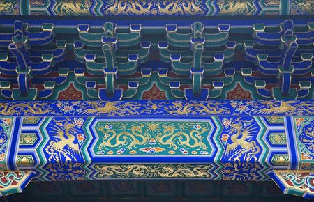 reviewer: Dragon Phoenix Details Temple of Heaven Beijing China  Resubmit--In response to comments from reviewer have further processed image to reduce noise, sharpen focus and adjust lighting. Stock Photo