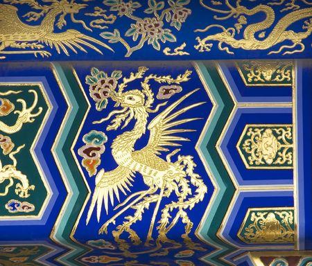 temple of heaven: Phoenix Detail Temple of Heaven Beijing China  Phoenix is the symbol of the Empress of China.  Resubmit--In response to comments from reviewer have further processed image to reduce noise, sharpen focus and adjust lighting.