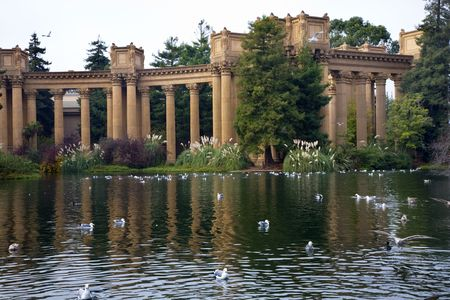 grecian: Grecian Columns Seagulls Water Reflections Palace of Fine Arts Museum San Francisco California  Created in 1915 for Pan Pacific Exhibition.