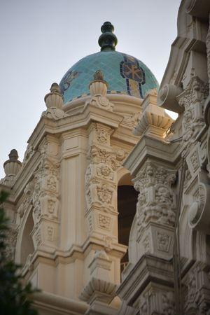 Ornate Carvings Steeple Mission Dolores Saint Francis de Assis San Francisco California Stockfoto