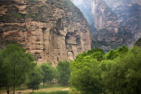 Buddha Statue Cliff Carving Binglin Si Bright Spirit Buddhist Temple Lanzhou Gansu China Stock Photo - 4402214