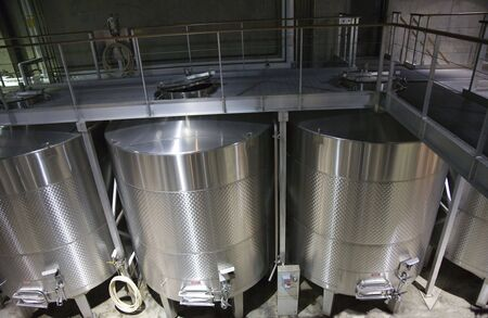 stainless: White Wine Staniless Steel Tanks Napa California  Trademarks obscured