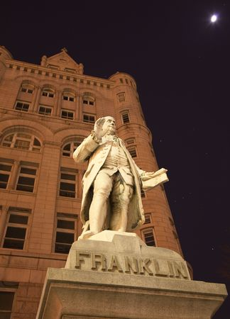 franklin: Benjamin Franklin Statue Old Post Office Building Pennsylvania Ave Washington DC with stars, planets, moon and orion constellation in the background