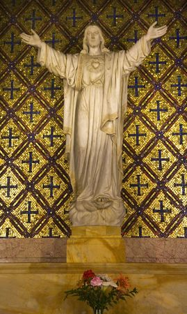 Jesus Statue Flowers Mission Dolores Saint Francis De Assis Ornate Carving San Francisco California