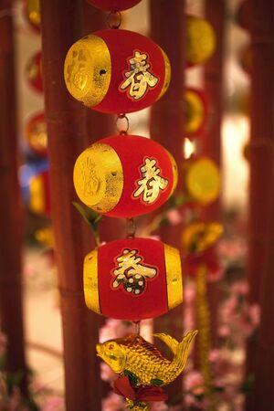 Chinese Nieuwjaar versieringen Peking China de vis is een smybol van rijkdom.  De tekens op de vaten zijn voor lente voor Chinese Spring Festival, een andere naam voor Chinese Nieuwjaar.  Opnieuw indienen - in antwoord op de opmerkingen van de revisor hebt verdere processe Stockfoto