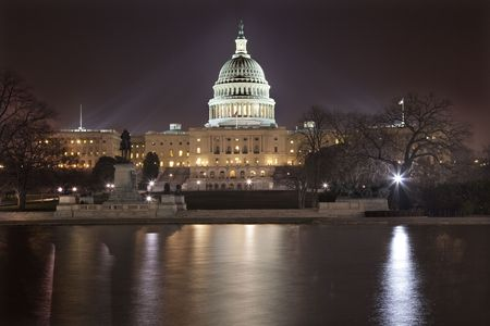 US Capitol Congress House Representatives Senate Night Reflections Washington DC Stock Photo - 4914162