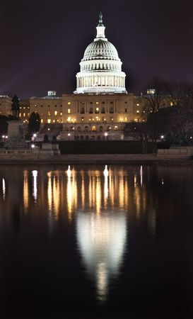 downtown capitol: US Capitol Congress House Representatives Senate Capital City Washington DC With Reflection