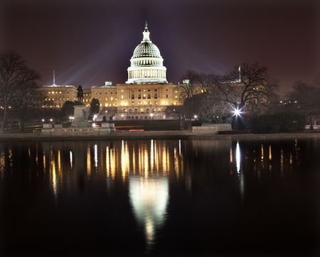 US Capitol Congress House Representatives Senate capital city Washington DC  With Reflections