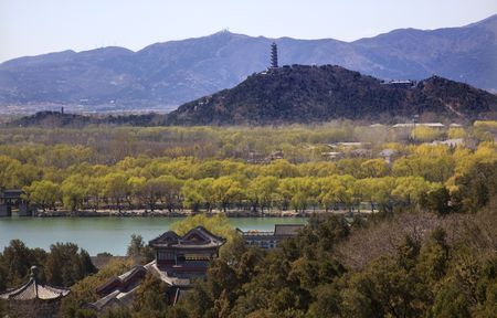 people's cultural palace: Yu Feng Pagoda From Longevity HIll Summer Palace Willows Beijing China