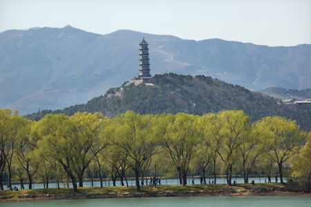 people's cultural palace: Yu Feng Pagoda on Yu Quan Hill from Summer Palace Willows Beijing China