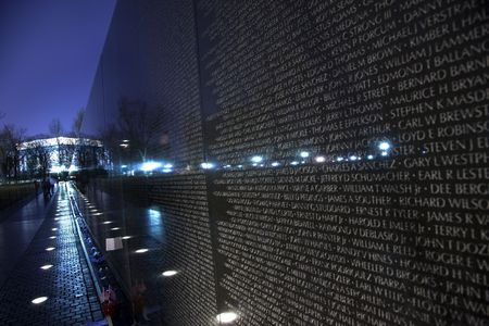 chiseled: Lincoln Memorial Reflection Vietnam Memorial Night The Wall Washington DC   Stock Photo