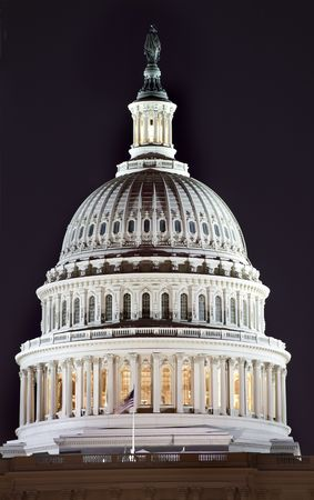 US Capitol Dome Close Up Congress House Washington DC  Resubmit--In response to comments from reviewer have further processed image to reduce noise, sharpen focus and adjust lighting. Stock Photo