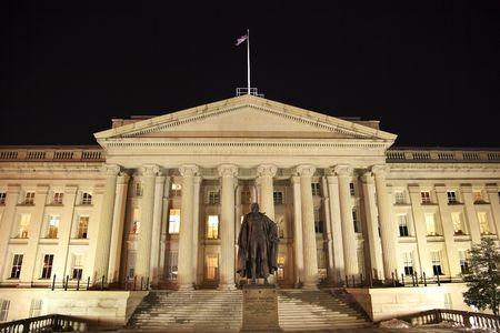 US Treasury Department Albert Gallatin Statue Washington DC Looking South
