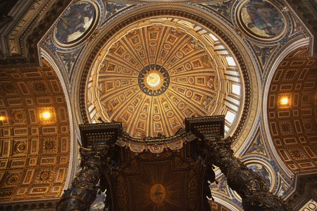 Saint Peters Basilica Vatican Inside From Berninis bronze baldacchino Looking Up to Michelangelos Dome and Ceiling  Editorial
