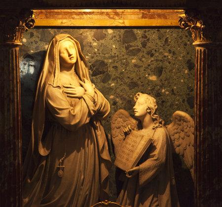 Bernini Sculpture Statue Mary and Angel Santa Francesca Romana Basilica Forum Rome Italy