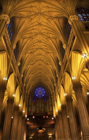 Saint Patrick's Cathedral, Inside, Arches, Stained Glass, New York City Stock Photo - 5043058