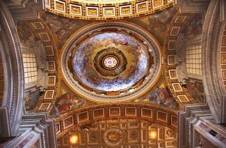 Vatican Inside Beautiful Gold Ceiling Dome=