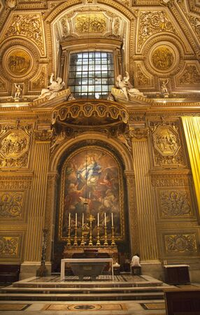 peters: Cleaning the Basilica Vatican Inside Altar, Crucifix, Mary Painting Shrine Saint Peters Rome italy