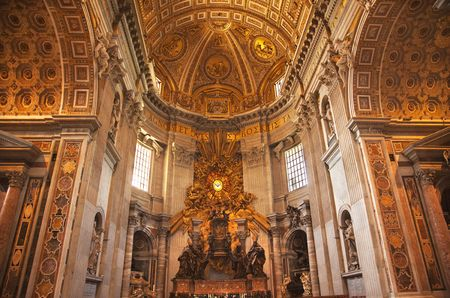 Saint Peters Throne Vatican Inside Ceiling Holy Spirit