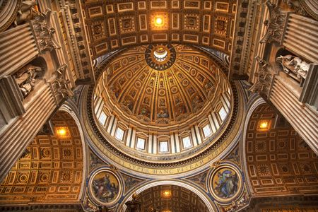 basilica of saint peter: Vatican Inside Ceiling Michaelangelos Dome Looking Up Rome Italy  Editorial