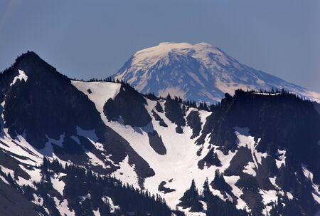 adams: Mount Adams from Sunrise Mount Rainier Snow Mountain Stock Photo