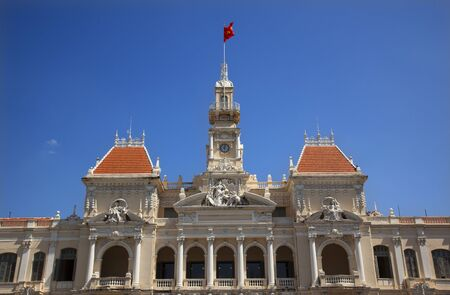 committee: Peoples Committee Building Saigon Ho Chi Minh City Vietnam National Flag