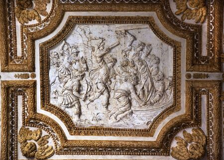 reviewer: Vatican Inside Ornate Ceiling with Scullpture of Christian MartyrsResubmit--In response to comments from reviewer have further processed image to reduce noise, sharpen focus and adjust lighting.
