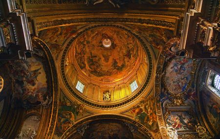 Chiesa del Gesu Church, Golden Baroque Dome and Paintings and Ceiling, Built in Late 16th Century by the Jesuits Rome Italy A prototype of a counterreformation church.  Built in 1568-1584 Saint Ignatius Loyola  Resubmit--In response to comments from revie