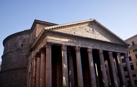 dome building: Ancient Pantheon Outside, Rome Italy Oldest Church in the World Built in 27BC by Agrippa and rebuilt in the Second Centuray AD by Hadrian.  Oldest dome building in the worldResubmit--In response to comments from reviewer have further processed images to r Stock Photo