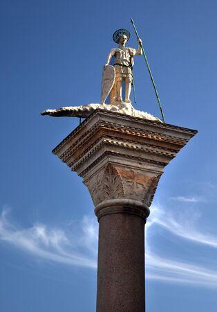 Saint Theodore Killing Crocidile Column 12th Century Originally from Constaintinople Venice Italy Stock Photo - 5973464