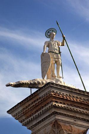 Saint Theodore Killing Crocidile Column 12th Century Originally from Constaintinople Venice Italy Stock Photo